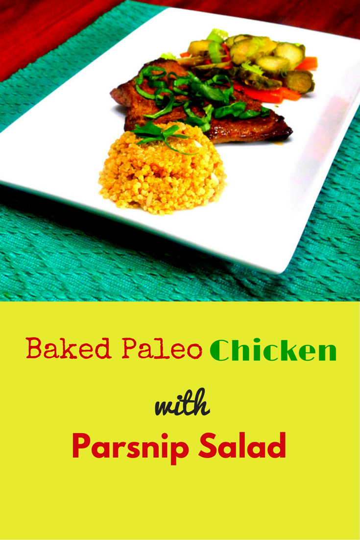 Baked Paleo Chicken with Parsnip Salad - you will absolutely love this recipe!! #PaleoDinner #PaleoRecipe #PaleoFood #PaleoLiving
