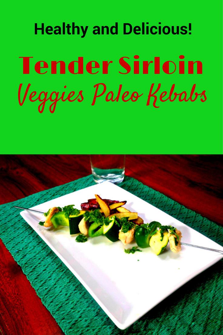 Healthy Tender Sirloin Veggies Paleo Kebabs - healthy food in a stick! #PaleoFood #PaleoVeggies #Paleo