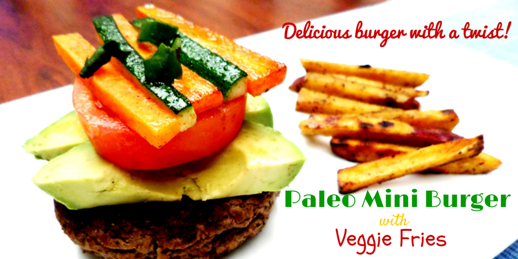 Paleo Mini Burgers with Veggie Fries - a healthy and delicious burger with a twist that you can't resist! #PaleoFood #PaleoRecipe #Paleo #PaleoLiving
