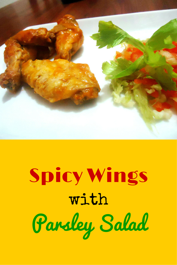Spicy Wings with Parsley Salad - this is the best hot wings recipe paired with a healthy salad! #PaleoDinner #PaleoFood #PaleoRecipe #Paleo