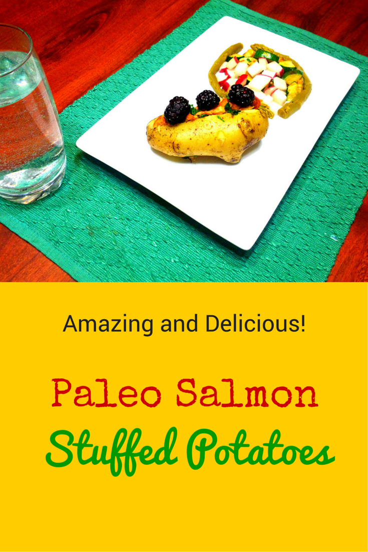 Paleo Salmon Stuffed Potatoes - excellent source of vitamins! #PaleoRecipe #PaleoFood #PaleoDinner #Paleo #ProudtobePaleo
