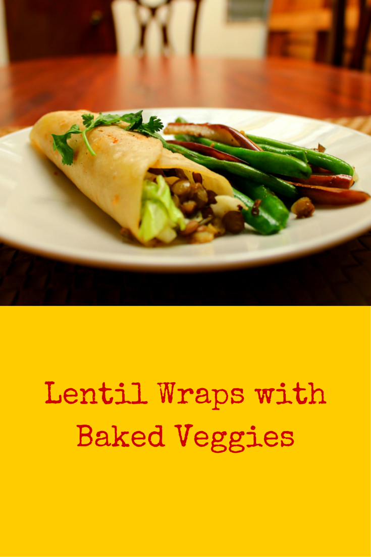 Lentil Wraps with Baked Veggies - a healthy flavorful recipe of lentil & veggies! #PaleoFood #PaleoLunch #PaleoRecipe #Paleo #ProudtobePaleo